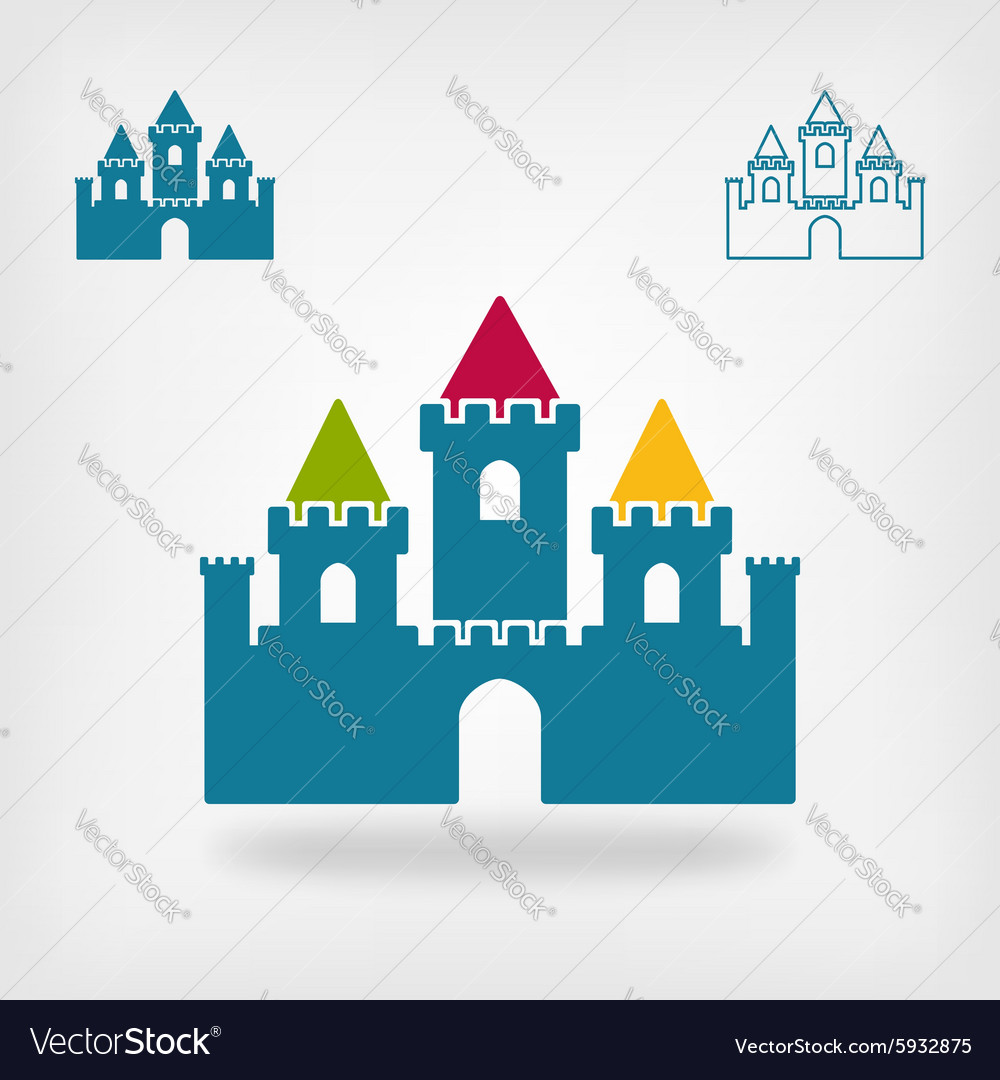 Old castle with towers symbol Royalty Free Vector Image
