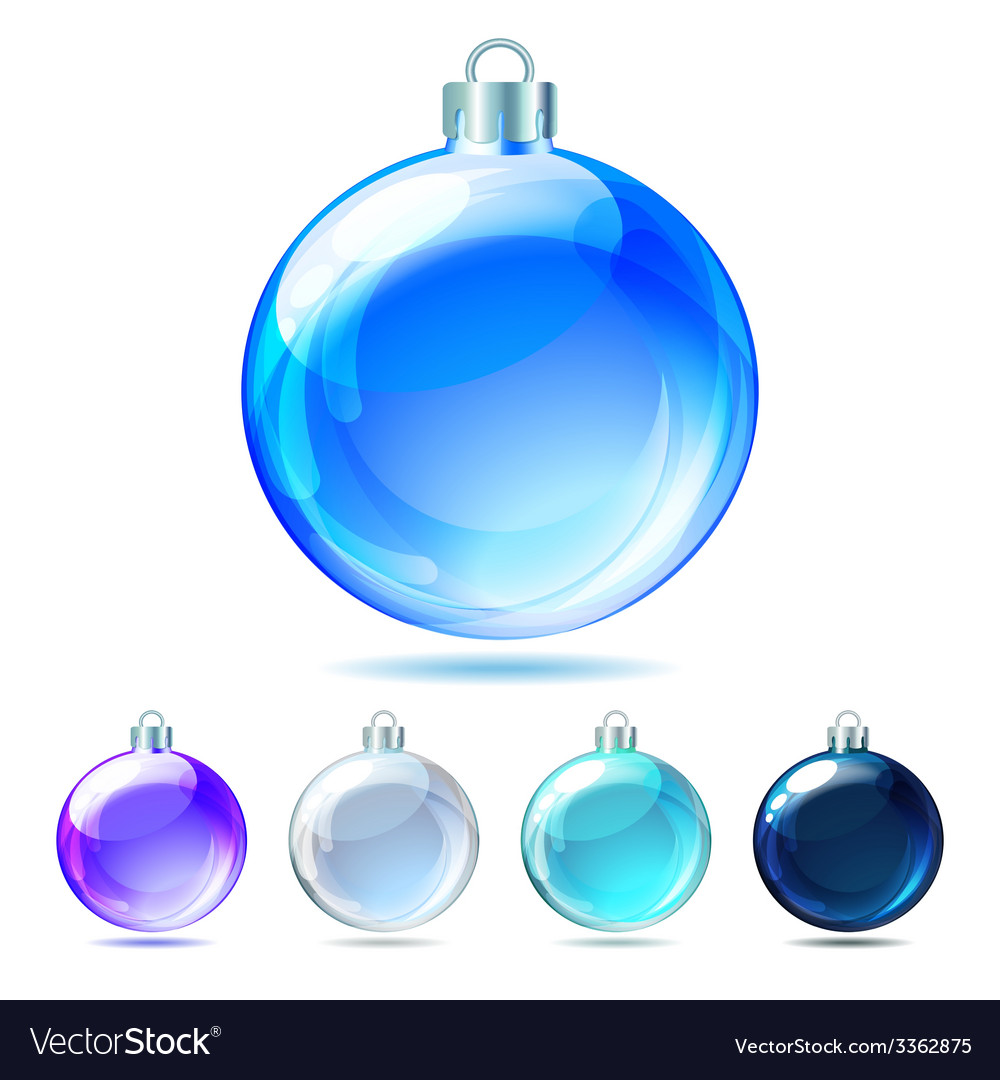 Set of Glossy Christmas balls on white background