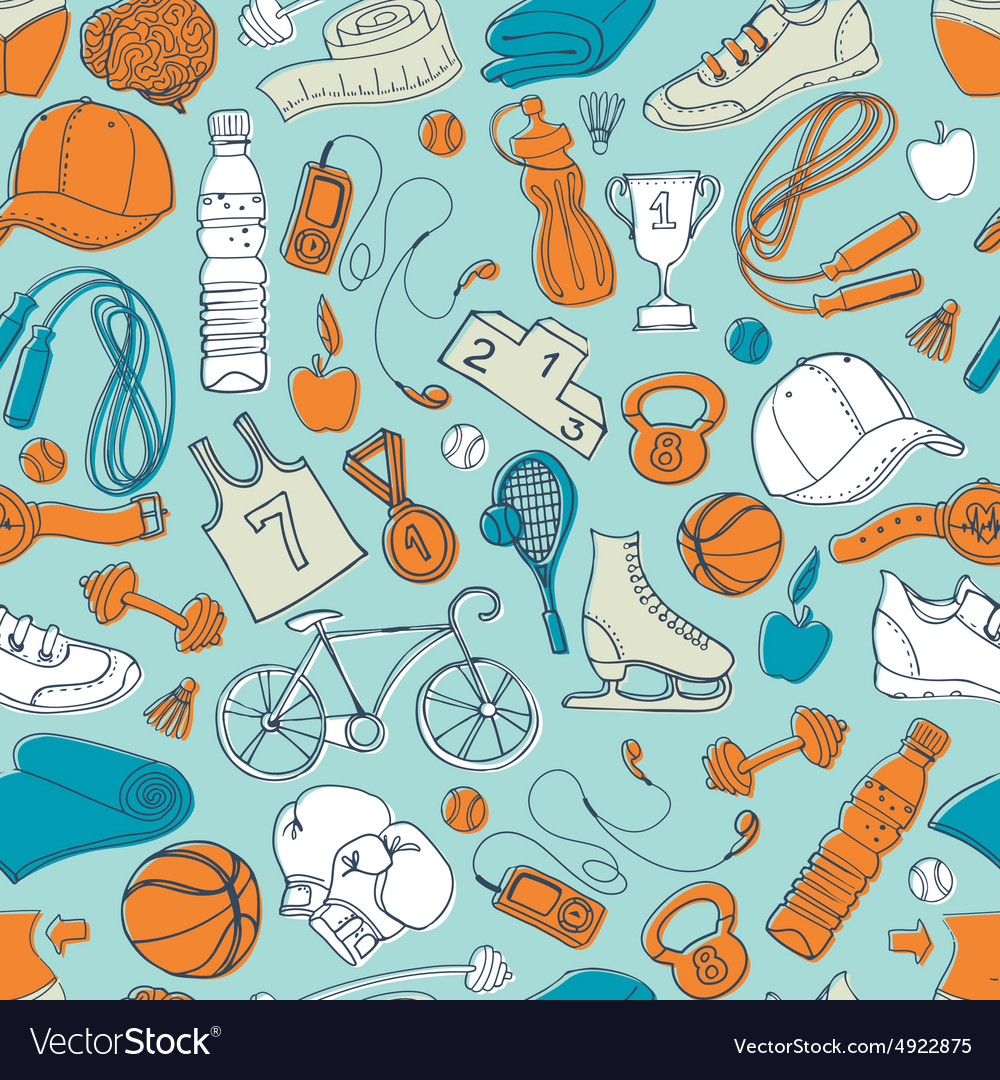 Sport and fitness seamless doodle pattern vector image