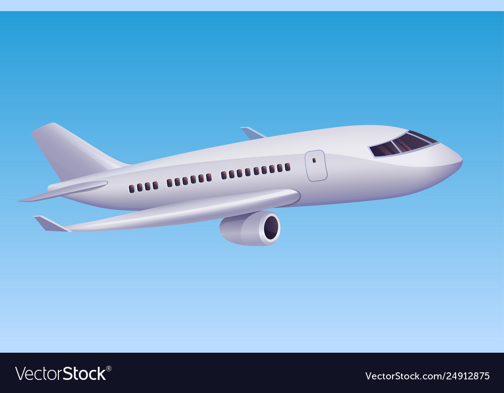 White Cartoon Airplane Flying In Sky Royalty Free Vector