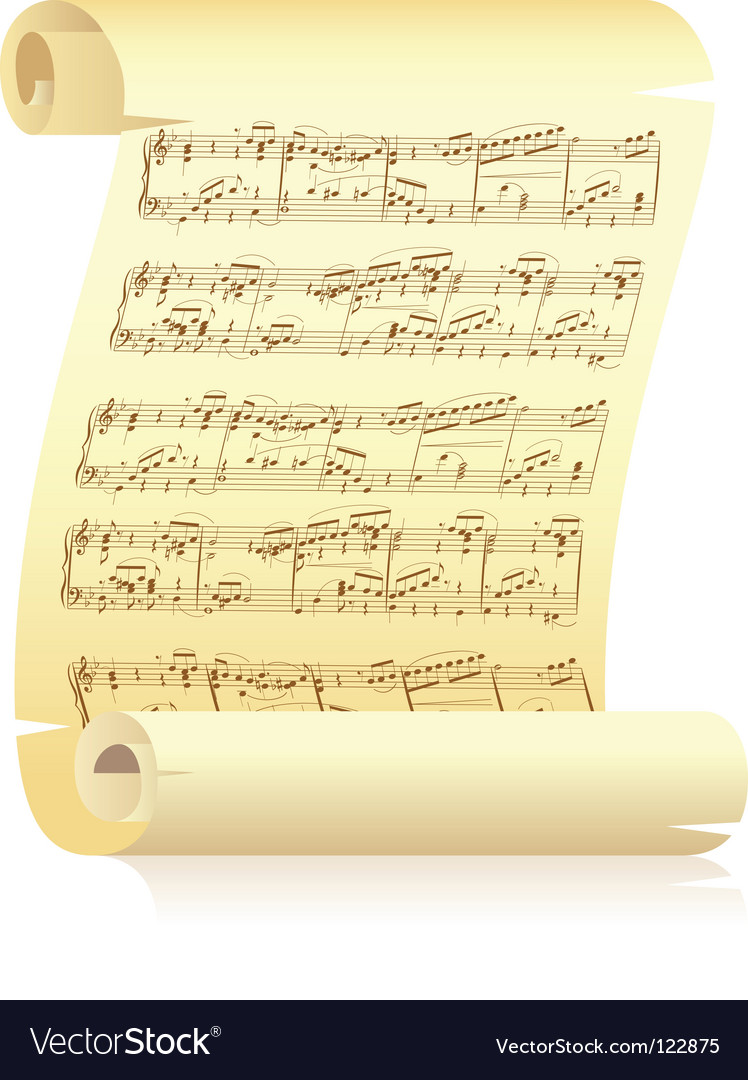 yellow scroll with musical notation royalty free vector