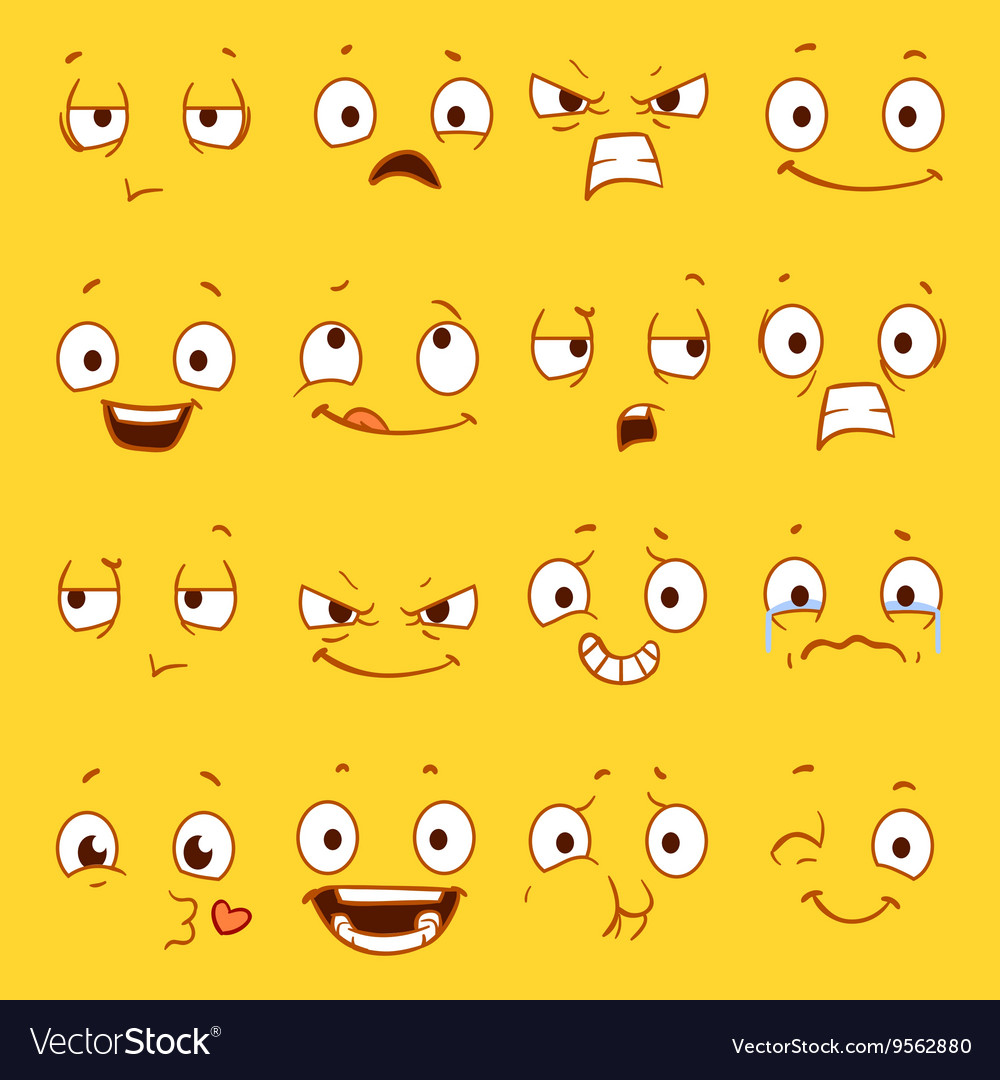 Cartoon faces with different expressions
