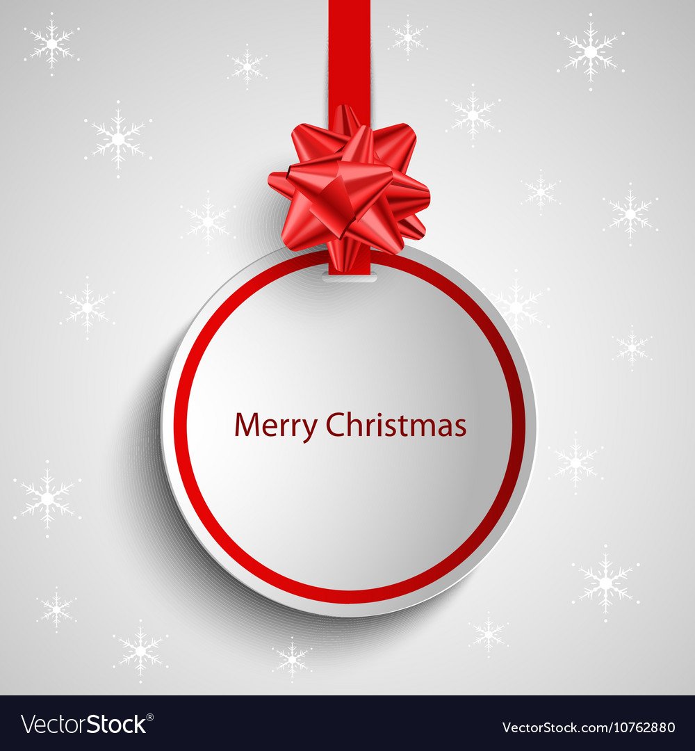 christmas card with red round sign pointer vector image - How To Sign A Christmas Card