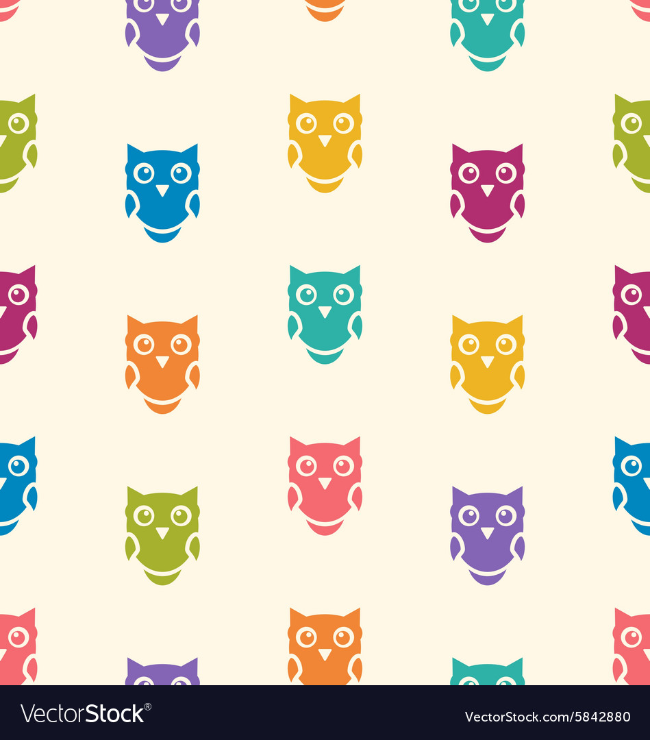 Cute seamless pattern with owls couple Blue and