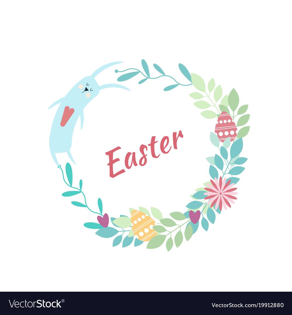 Easter round frame rabbit flowers plants eggs