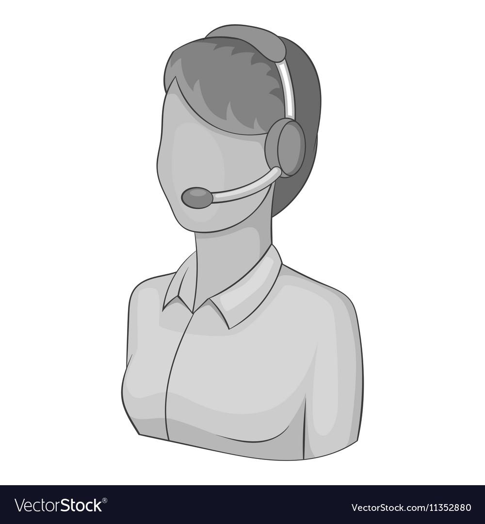 Female operator icon gray monochrome style