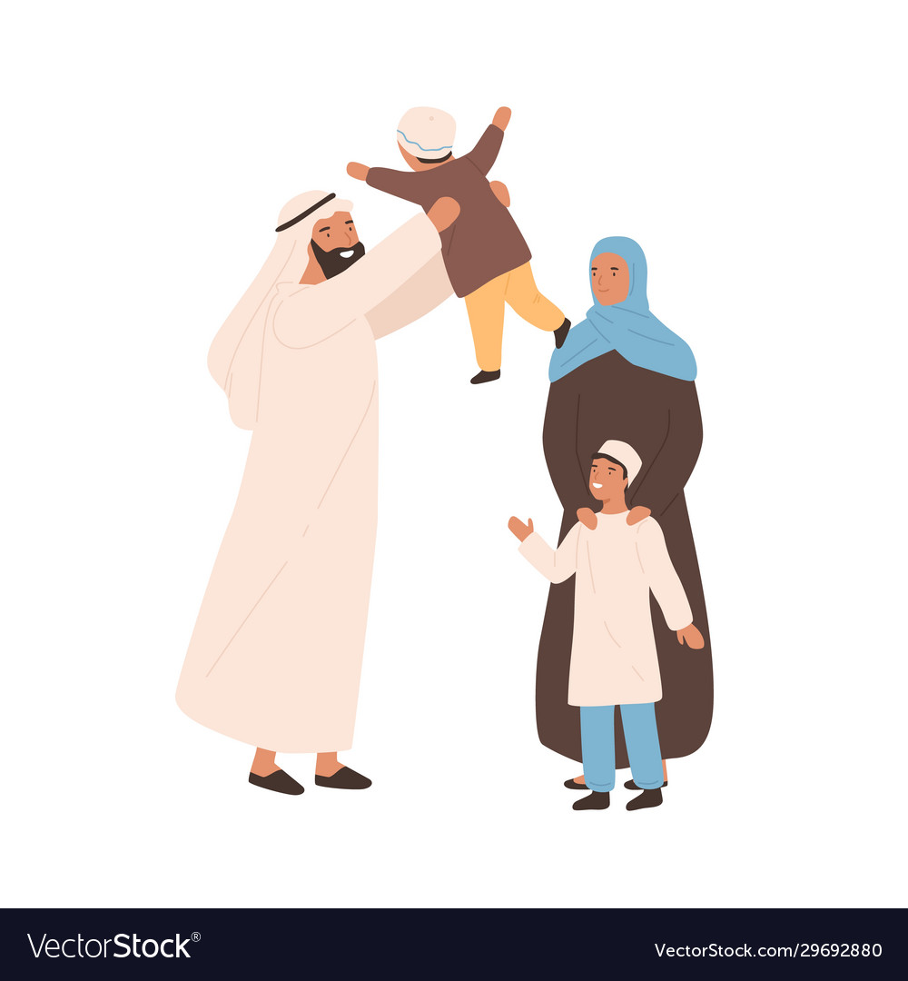 Happy traditional arabic family flat