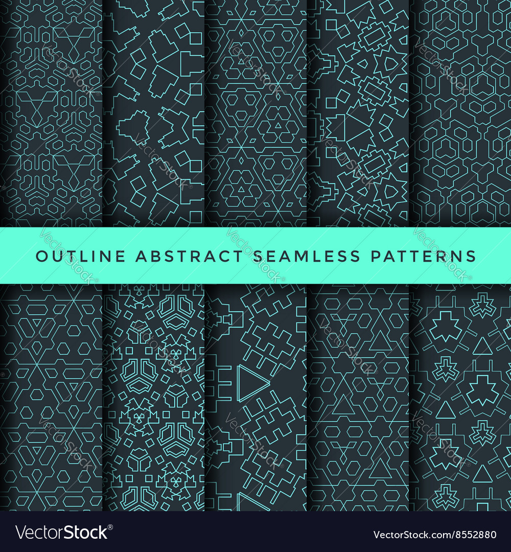 Outline abstract seamless pattern set