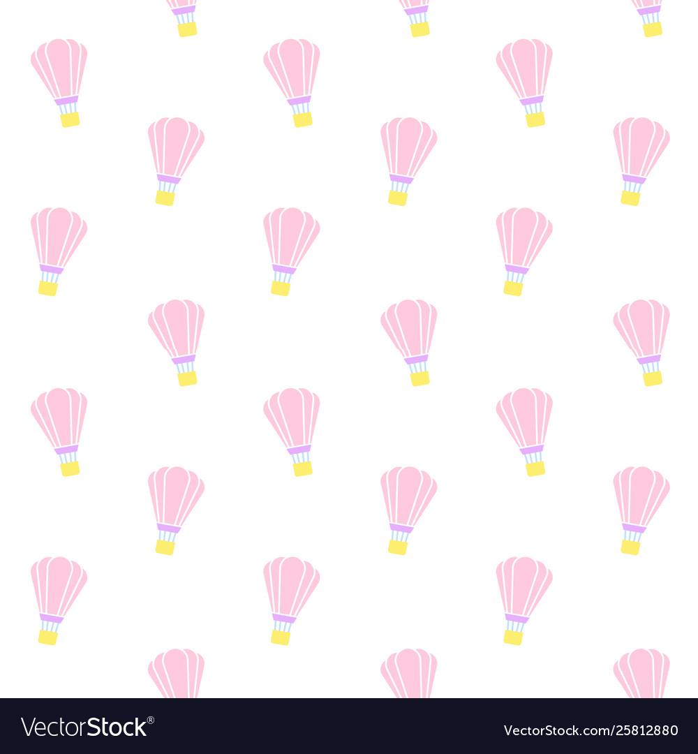 Seamless pattern pastel hot air balloon