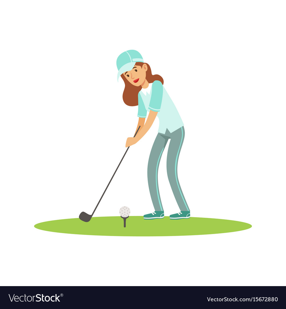 Smiling woman golfer in a light blue shirt and cap vector image