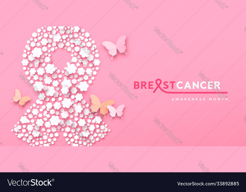 Breast cancer month banner paper flower ribon