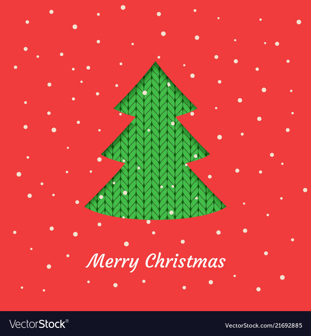 Christmas card with a green christmas tree