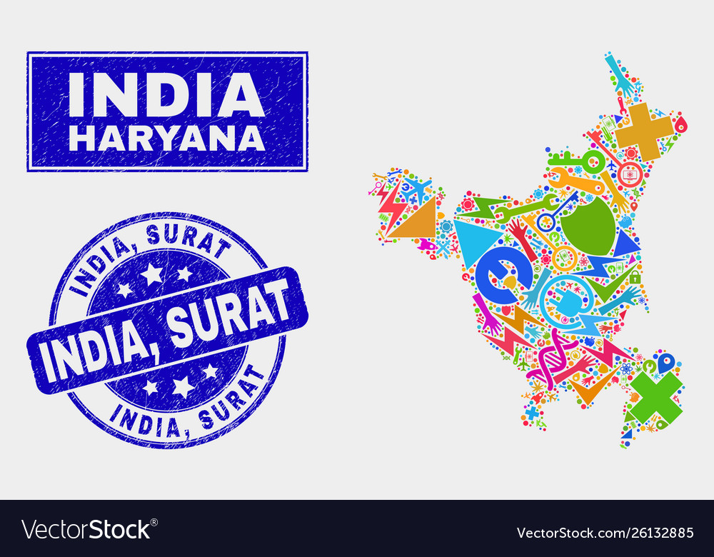 Collage technology haryana state map and scratched