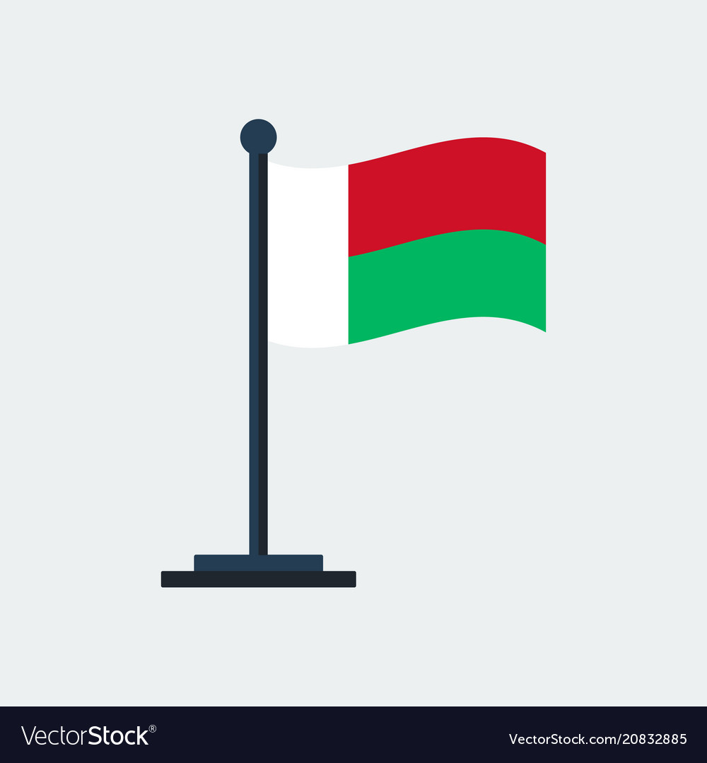 Flag of madagascarflag stand vector image