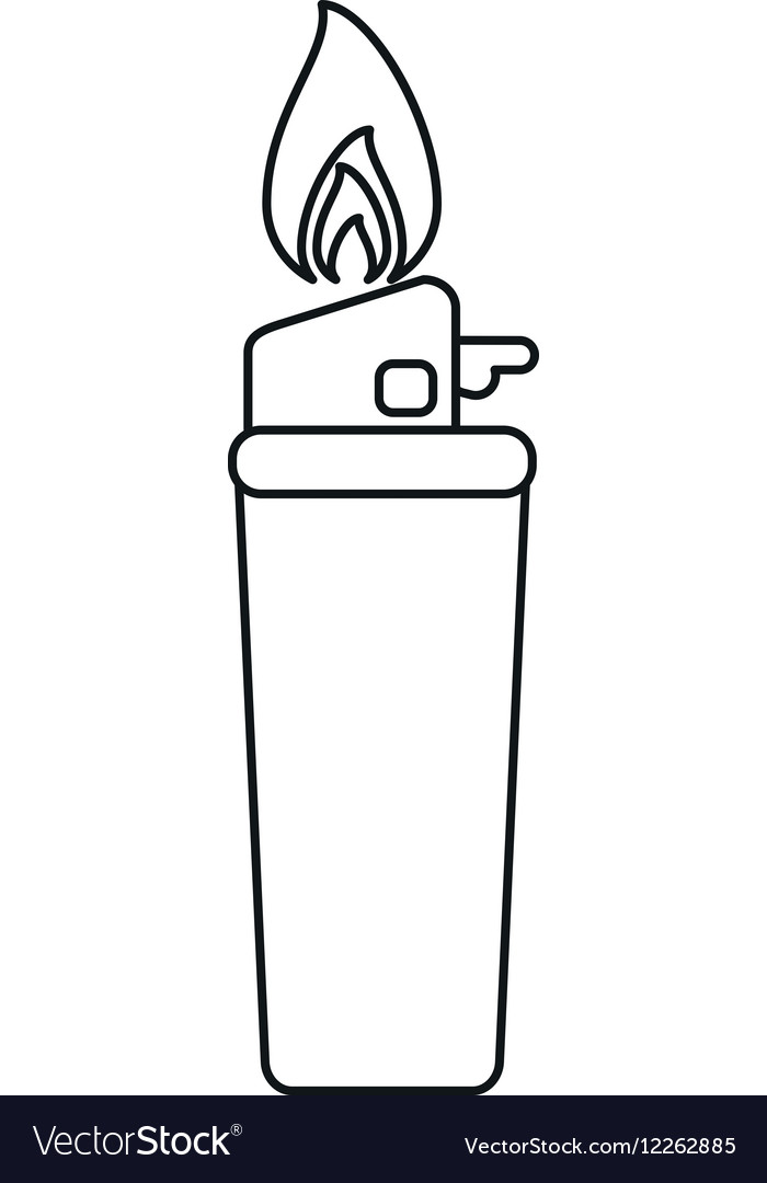Gas lighter flame icon line