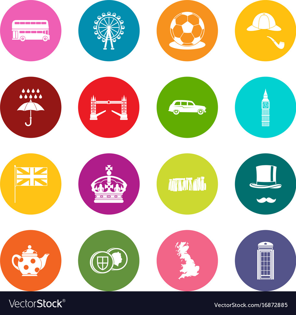 great britain icons many colors set royalty free vector
