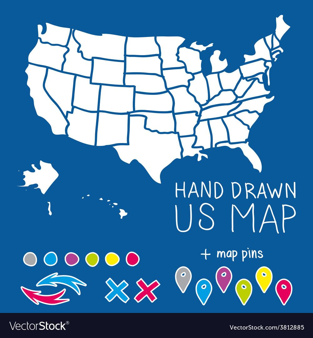 Hand drawn US map whith map pins Royalty Free Vector Image
