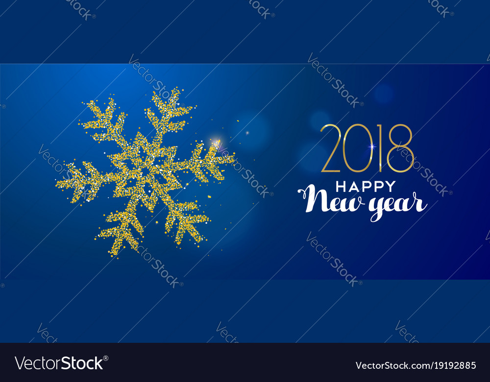 Happy new year 2018 gold glitter holiday snow