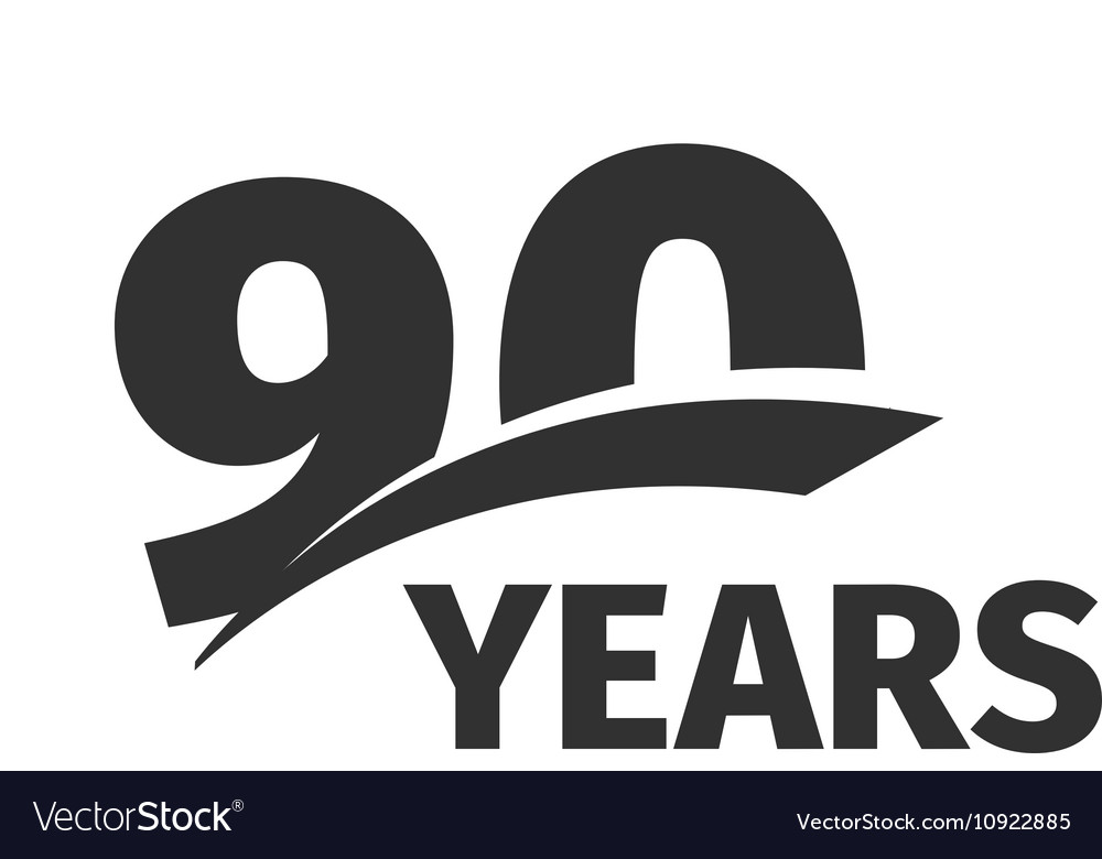 isolated abstract black 90th anniversary logo on vector image