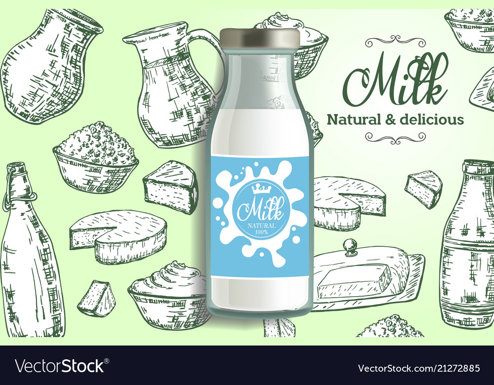 Natural delicious milk ads design template