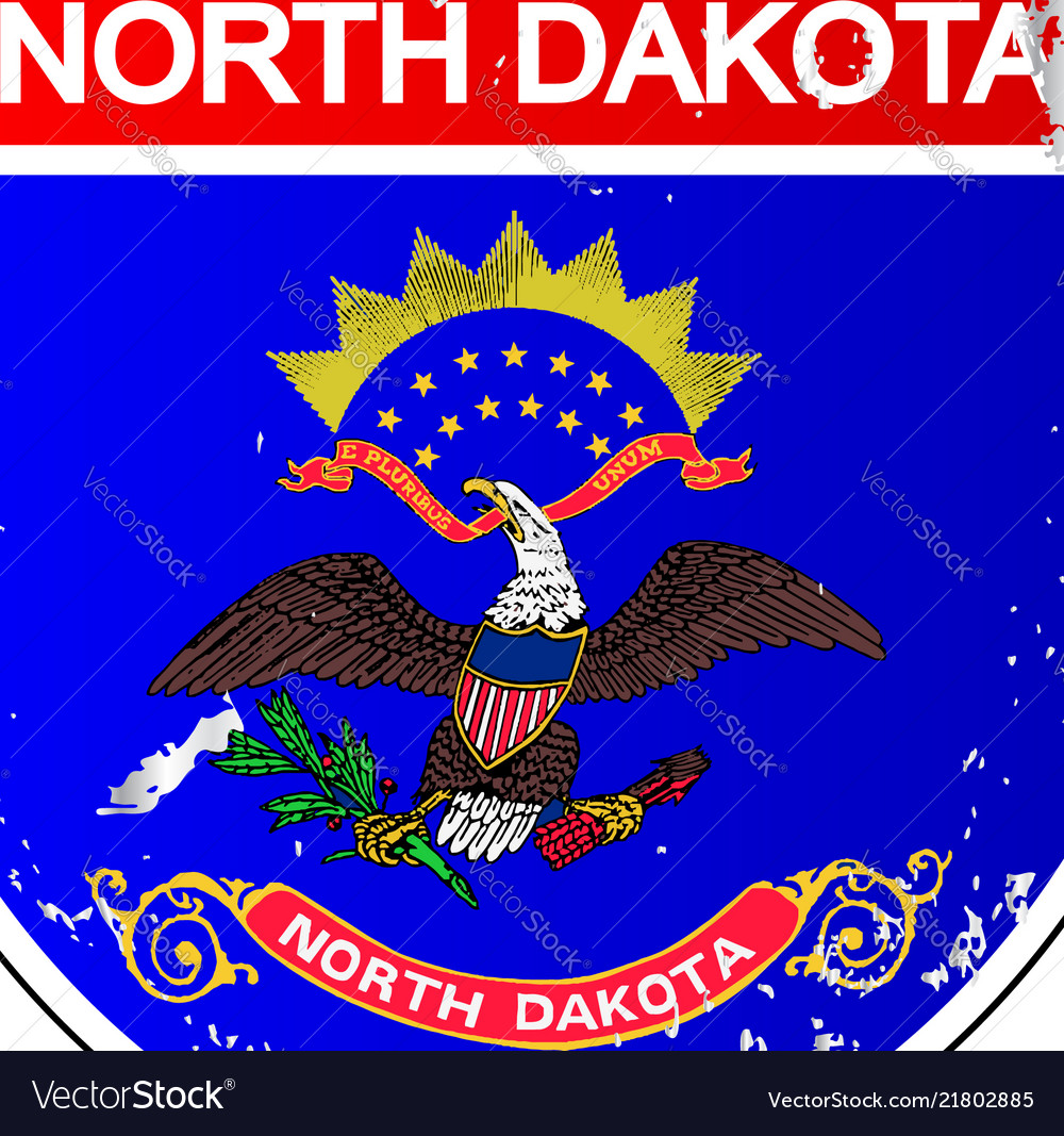 North Dakota Flag Icons As Interstate Sign Vector Image