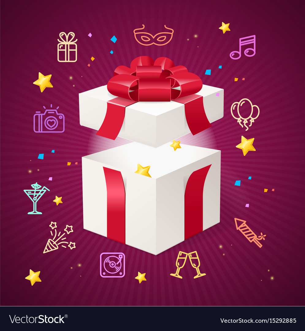Party card flyer invitation birthday with open vector image
