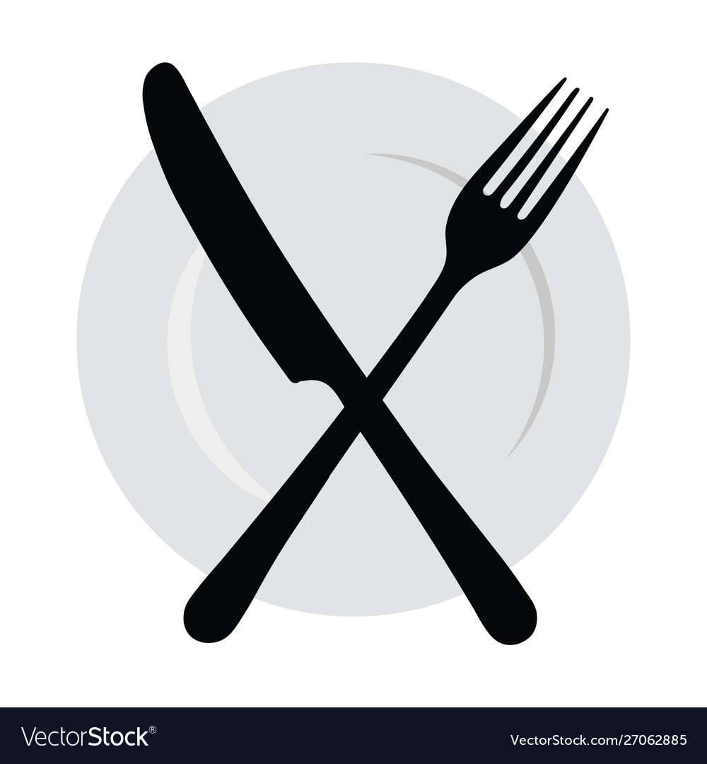 Plate with a fork and knife logo with cutlery