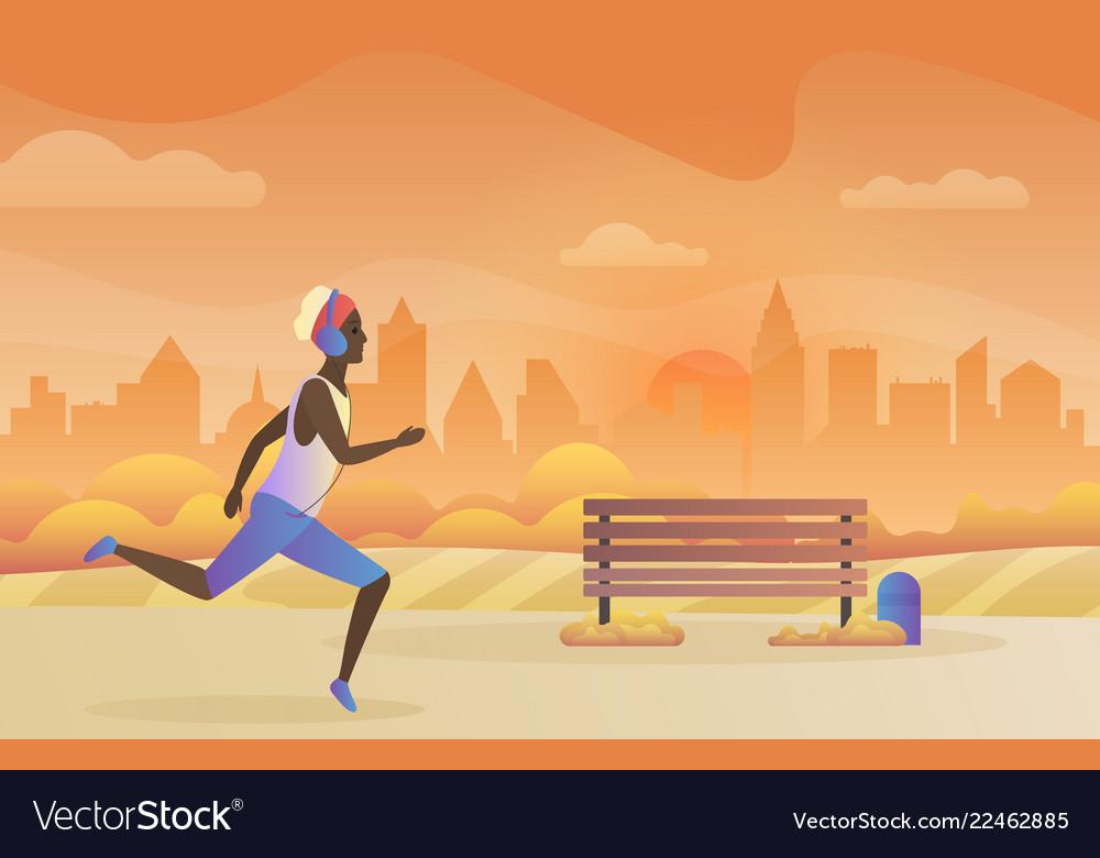 Running in city park black african
