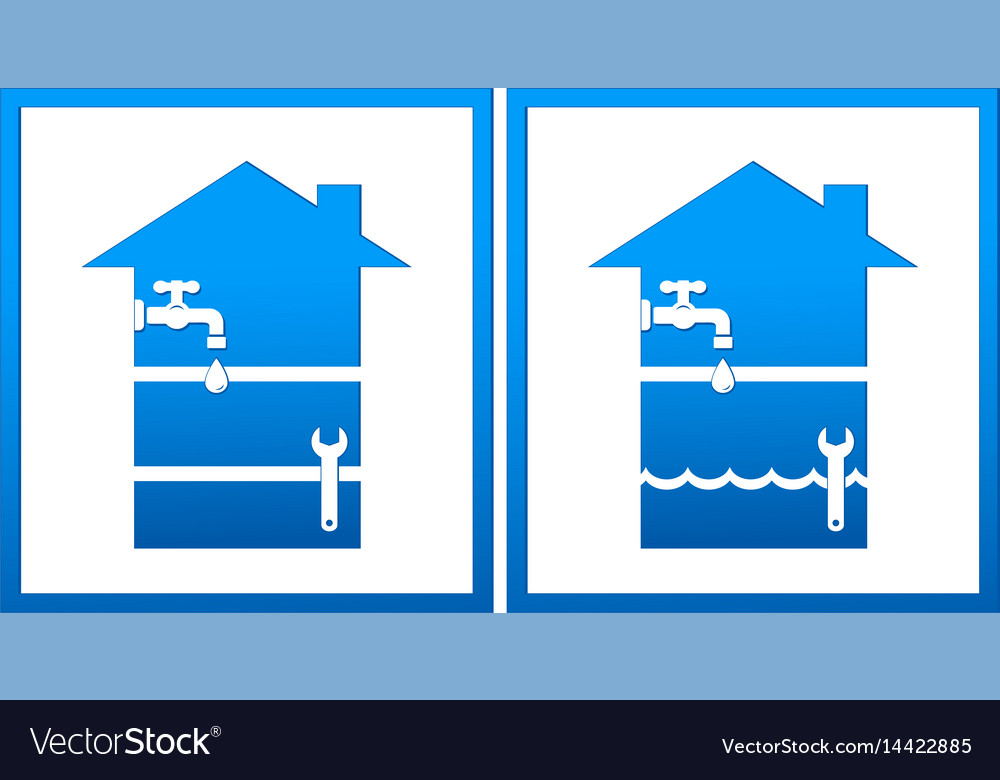 Set with house and plumbing wrench vector image