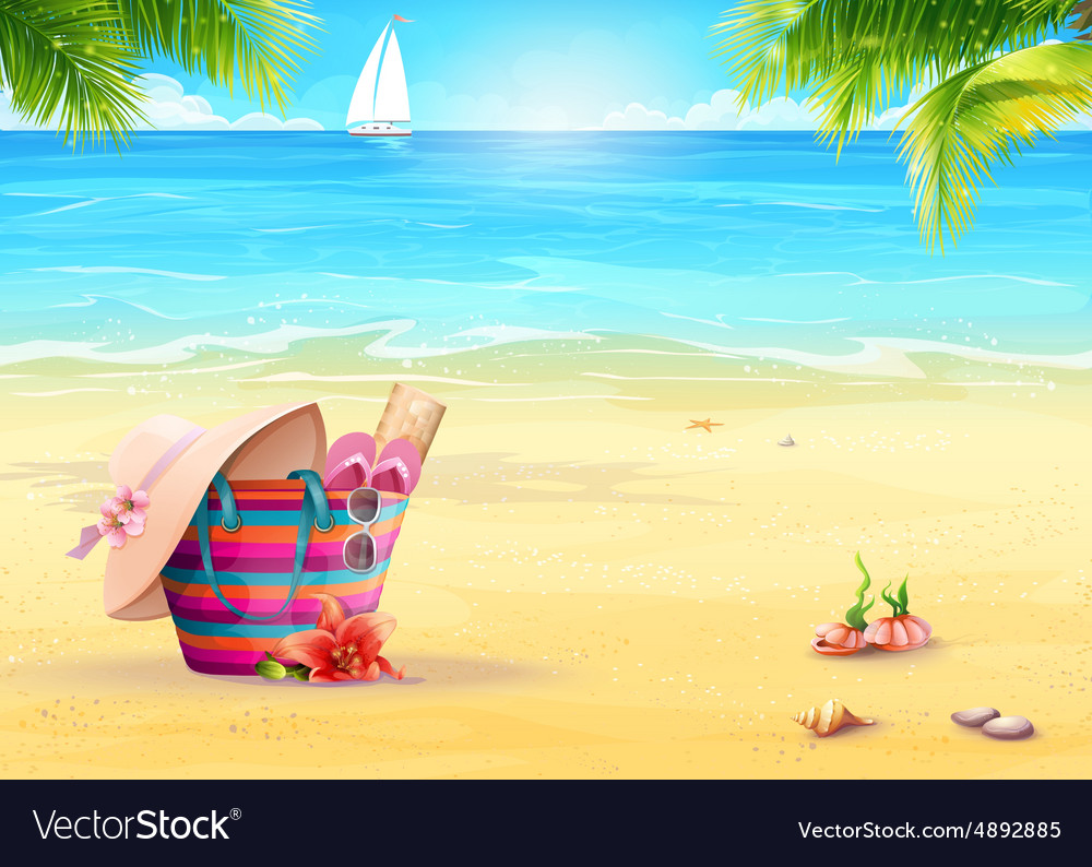 Summer with a beach bag in sand vector