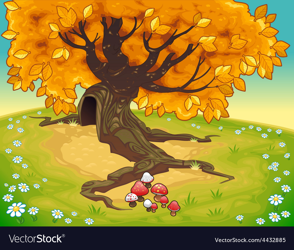 Tree in autumnal landscape vector image