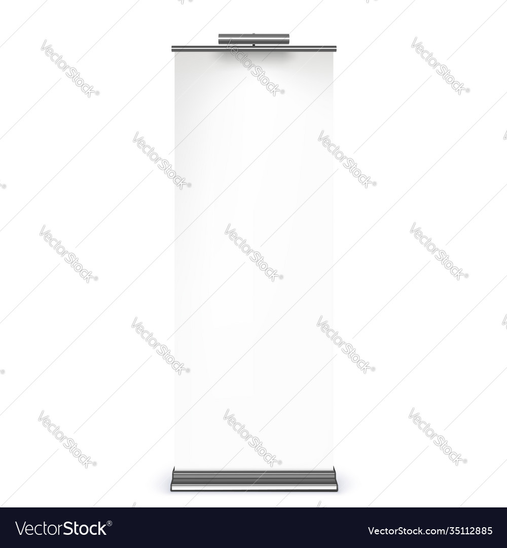 Vertical roll-up banner isolated on white