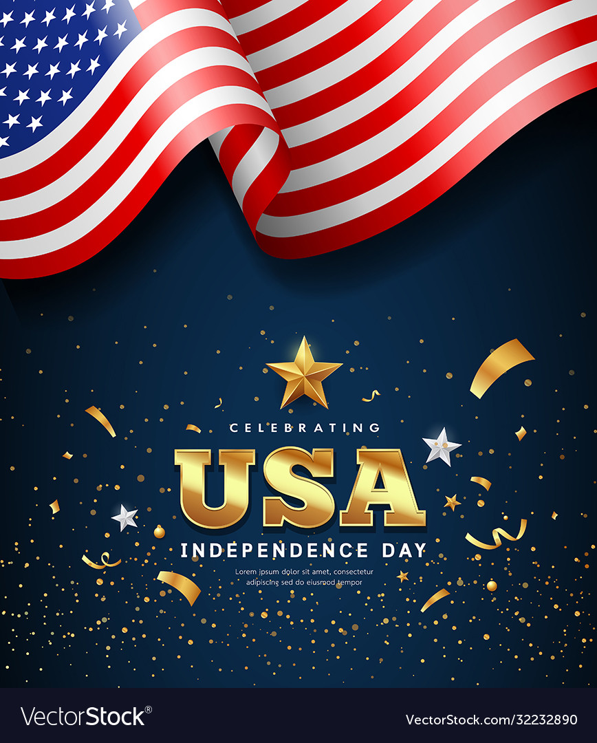 American flag waving independence day golden text