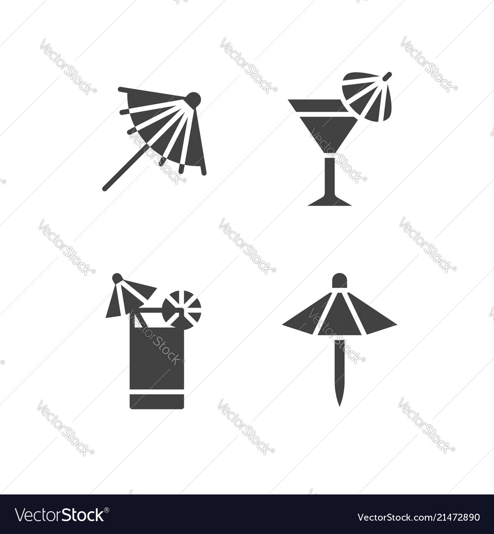 Cocktail umbrella flat glyph icons cold summer
