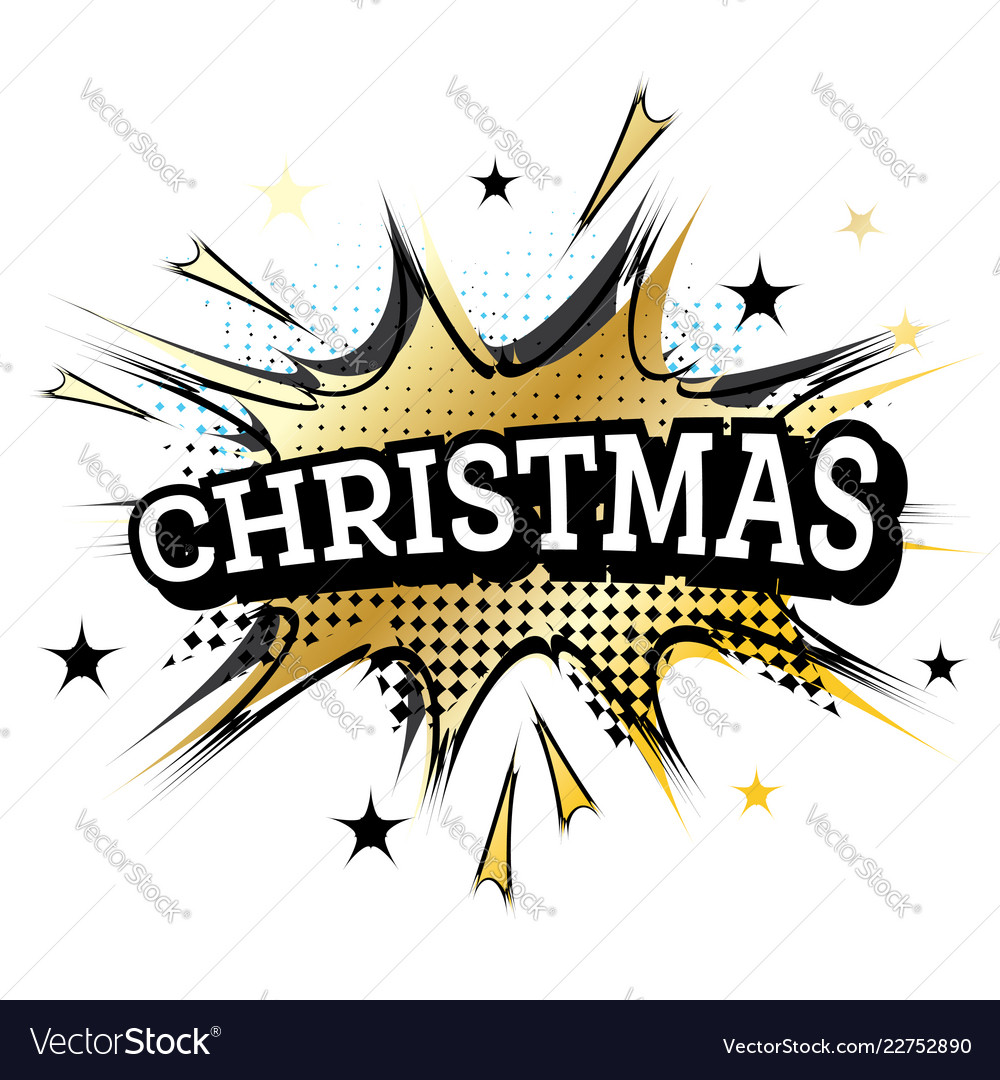 Comic speech bubble with text christmas retro pop