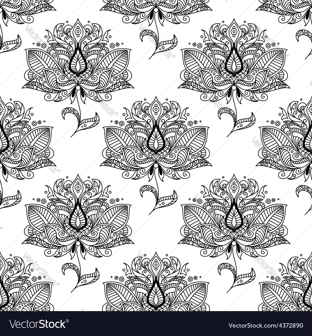 Flowers with ethnic paisley ornaments seamless