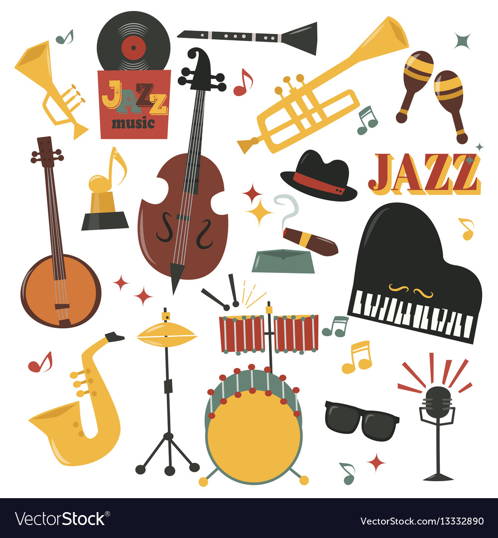 Musical instruments decorative icons with guitar