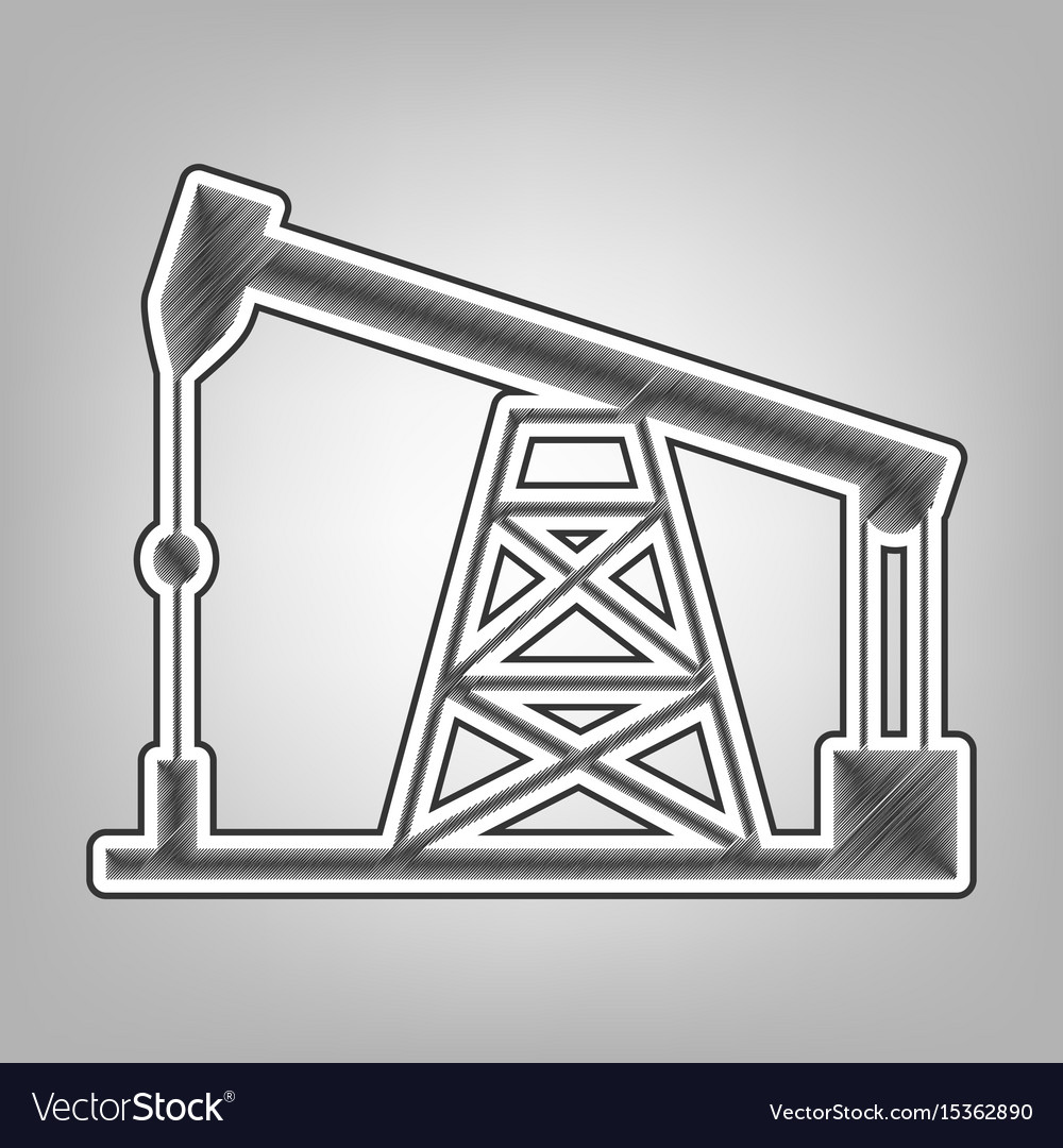 Oil drilling rig sign pencil sketch