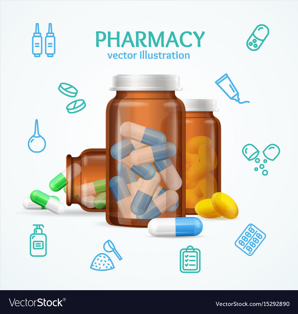 Pharmacy concept with pills capsules in medical