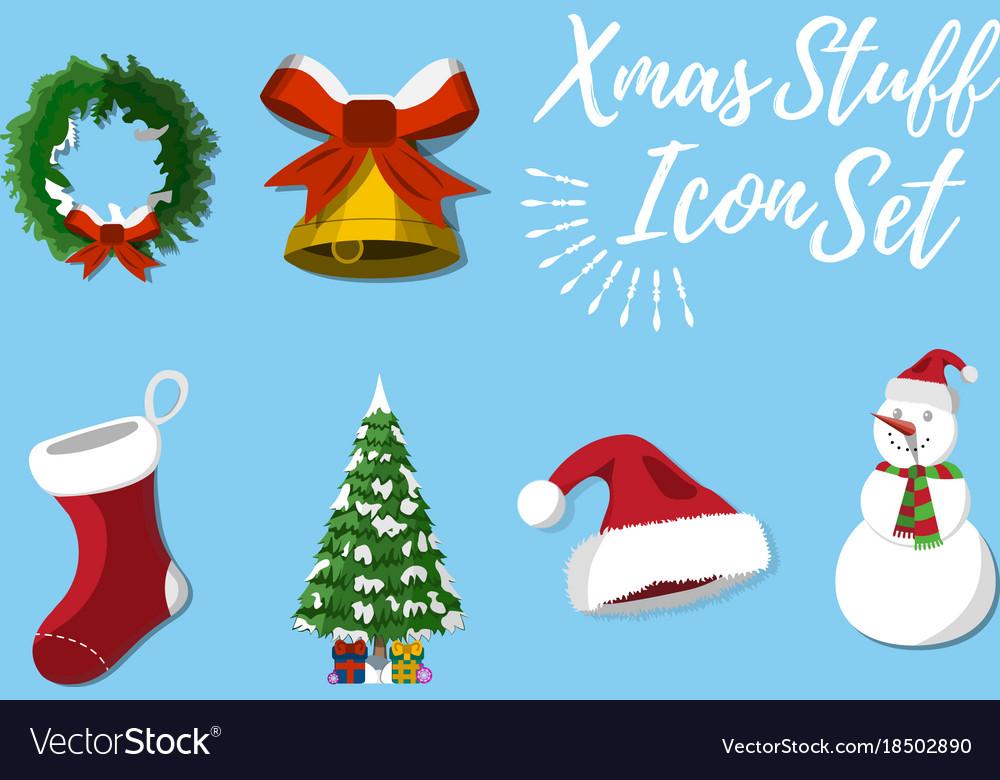 set of christmas stuff vector image