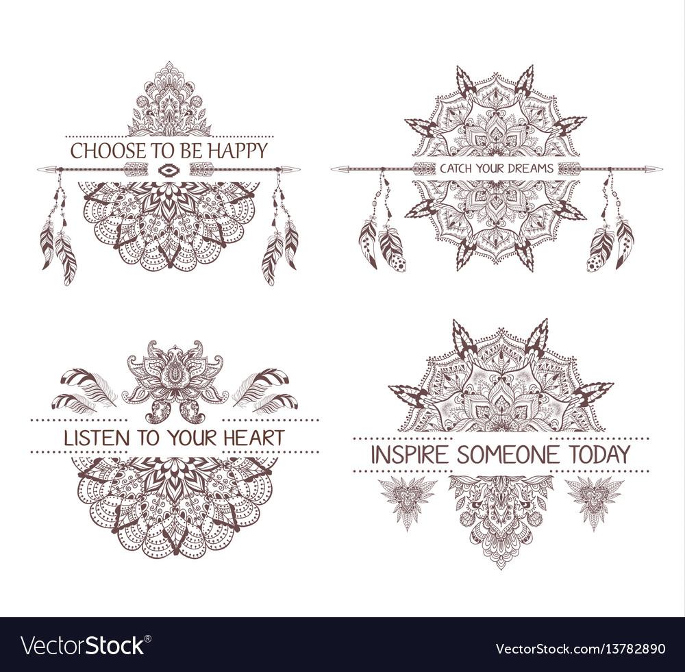 Set of hand drawn boho style design with mandala