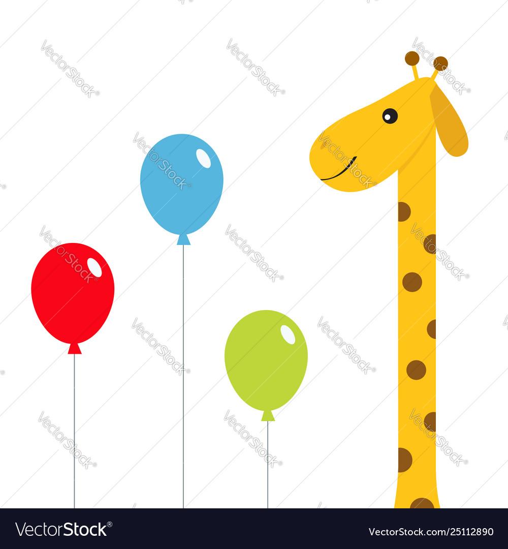 Three balloons giraffe with spot zoo animal cute