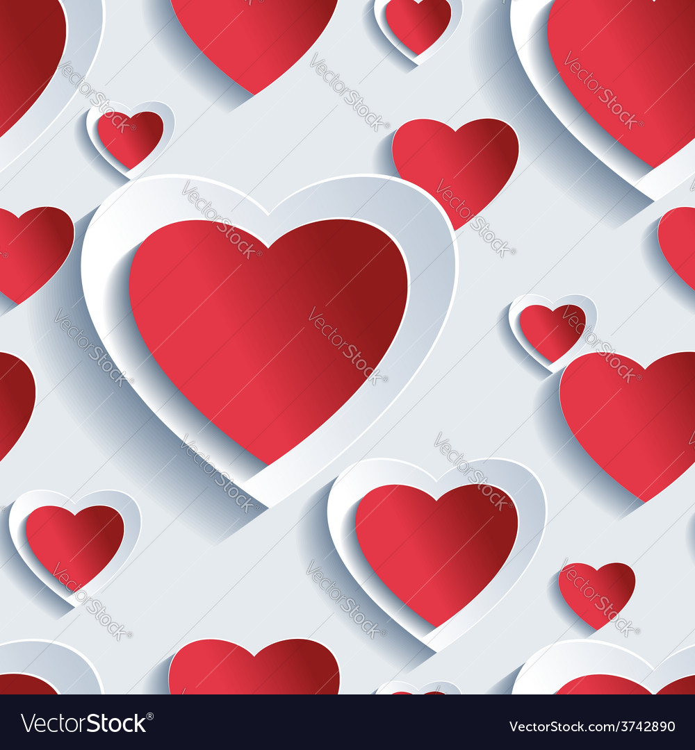 Valentines day seamless pattern 3d hearts