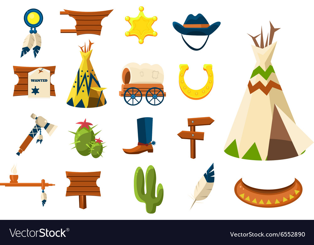 Wild west icons of cowboy vector image