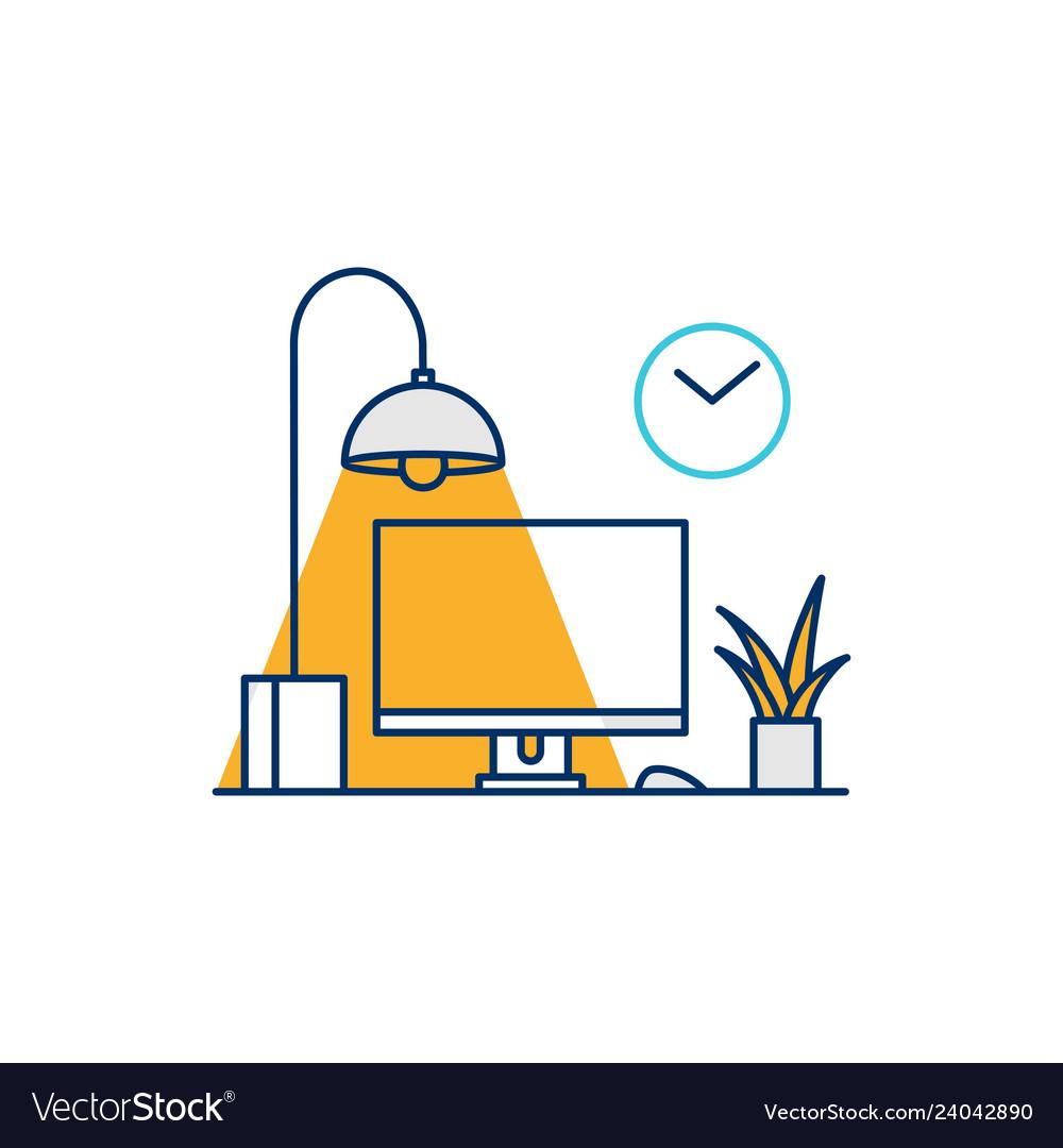 Working desk computer setup icon line outline