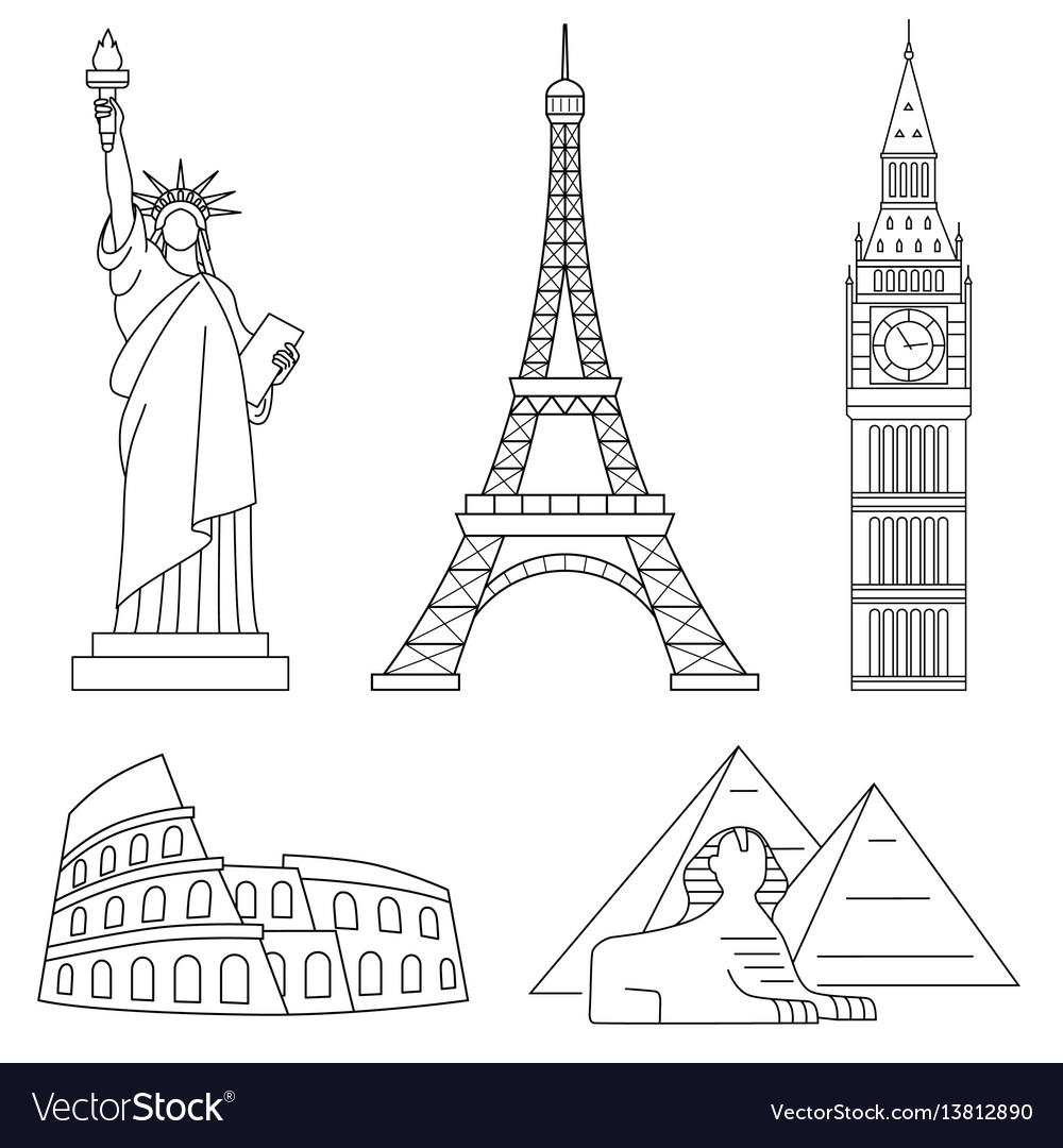 World landmarks eiffel tower statue of liberty