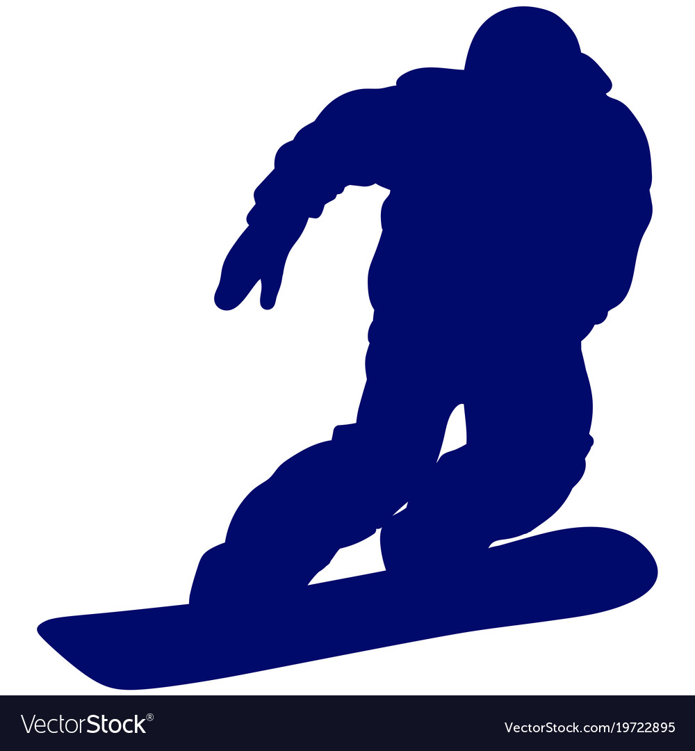 Blue silhouette of a snowboarder