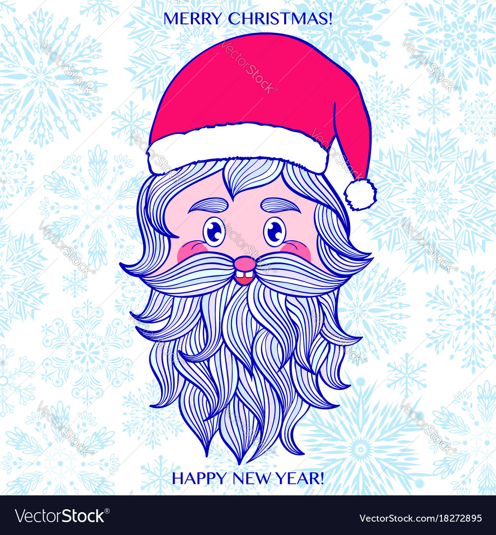 Hand drawn head of santa vector image