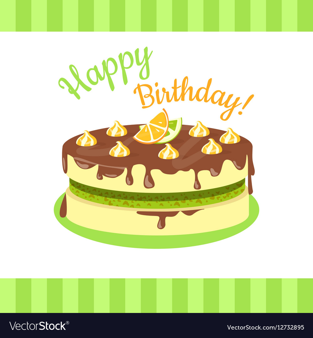 Happy Birthday Cake With Citrus Fruits Isolated Vector Image