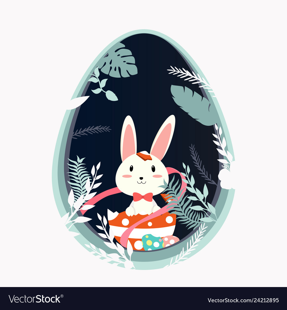 Happy easter bunny in forest